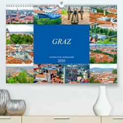 Graz – Ausblick auf die Dachlandschaft (Premium, hochwertiger DIN A2 Wandkalender 2020, Kunstdruck in Hochglanz) von Schwarze,  Nina