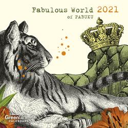 GreenLine Fabulous World of PABUKU 2021 – Wand-Kalender – Mini-Broschürenkalender – 17,5×17,5 – 17,5×35 geöffnet