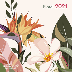 GreenLine Floral 2021 – Wandkalender – Mini-Broschürenkalender – 1,75×17,5 – 17,5×35 geöffnet – Blumen