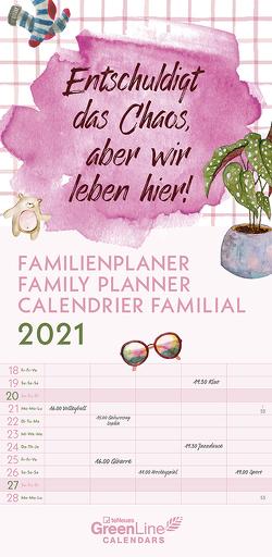 GreenLine Sprüche 2021 Familienplaner -Wandkalender – Familien-Kalender – 22×45