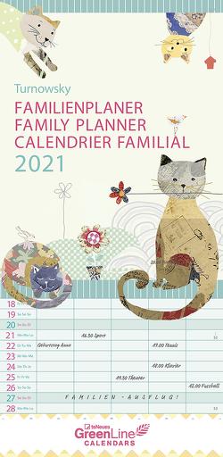 GreenLine Turnowsky 2021 Familienplaner -Wandkalender – Familien-Kalender – 22×45