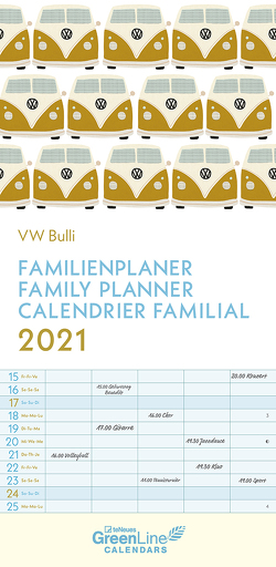 GreenLine VW Bulli 2021 – Wandkalender – Familien-Kalender – Familienplaner – 22×45