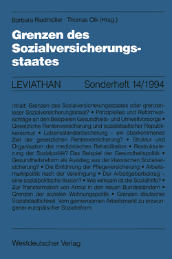 Grenzen des Sozialversicherungsstaates von Olk,  Thomas, Riedmüller,  Barbara