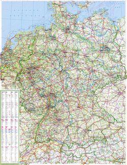 Große Deutschlandkarte mit Ländergrenzen, 1:750 000, plano in Hülse