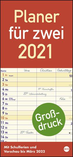 Großdruck Planer für zwei Kalender 2021 von Heye