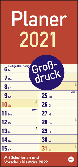 Großdruck Planer Kalender 2021 von Heye