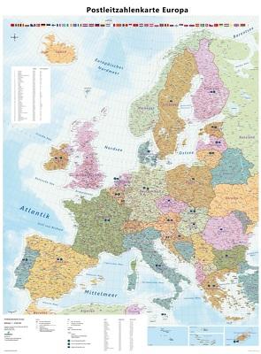 Große Postleitzahlenkarte von Europakarte mit Laminierung (beschreib- und abwischbar)
