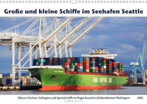 Große und kleine Schiffe im Seehafen Seattle (Wandkalender 2021 DIN A3 quer) von Thiem-Eberitsch,  Jana