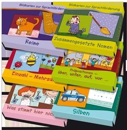 """Großes Paket: Bildkarten zur Sprachförderung enthält die Bildkartensets """"Reime"""", """"Zusammengesetzte Nomen"""", """"Einzahl-Mehrzahl"""", """"Präpositionen"""", """"Was stimmt hier nicht?"""" und """"Silben"""" von Boretzki,  Anja"""