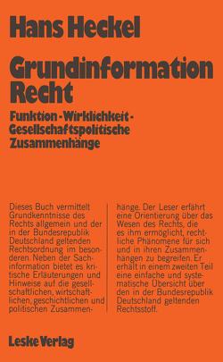 Grundinformation Recht von Heckel,  Hans