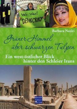 Grüner Himmel über schwarzen Tulpen von Naziri,  Barbara