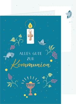 Grußkarte – Alles Gute zur Kommunion (petrol) von Paehl,  Nora