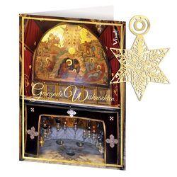 Grußkarte »Gesegnete Weihnachten« mit Lesezeichen aus Edelstahl