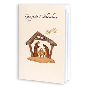 Grußkarte »Heilige Familie« mit Holzintarsien