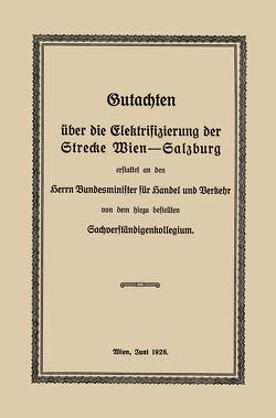 Gutachten über die Elektrifizierung der Strecke Wien —Salzburg von Findeis,  Robert