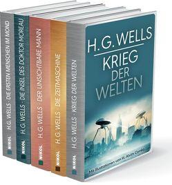 H.G.Wells (fünf Romane) – Krieg der Welten – Die Zeitmaschine – Die Insel des Dr. Moreau – Der unsichtbare Mann – Die ersten Menschen im Mond von Konrad,  Ailin, Wells,  H.G.