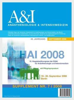 HAI Abstractband 2008 von Berufsverband Deutscher Anästhesisten, Deutsche Akademie f. Anästhesiologische Fortbildung