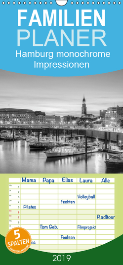 Hamburg monochrome Impressionen – Familienplaner hoch (Wandkalender 2019 , 21 cm x 45 cm, hoch) von Hasche Fotografie,  Joachim