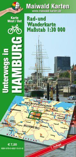 Hamburg Ost/West – Rad- und Wanderkarte – mit Rückseite Hamburg Ost von Maiwald,  Detlef, Maiwald,  Detlef sr