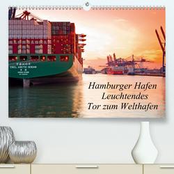 Hamburger Hafen – Leuchtendes Tor zum Welthafen (Premium, hochwertiger DIN A2 Wandkalender 2021, Kunstdruck in Hochglanz) von F. Selbach,  Arthur