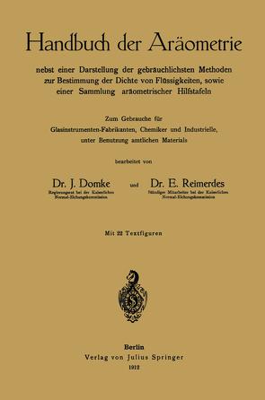Handbuch der Aräometrie von Domke,  J., Reimerdes,  E.