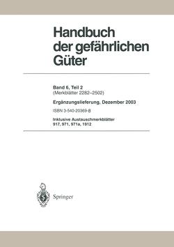 Handbuch der gefährlichen Güter von Barth,  H., Bender,  H.F., Broemme,  A., Gundert-Remy,  U., Hommel,  Günter, Schnierle,  H., Stephan,  U.