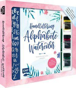 Handlettering Alphabete Watercolor – Das Starter-Set – Feine Buchstaben mit Pinsel und Brush Pen von Janssen,  Martina Johanna