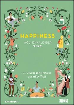 Happiness 2022 – Wochenkalender mit Illustrationen und Texten – Zum Aufhängen – DIN A4 – Spiralbindung