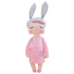 """Hasenmädchen Angela, das Original! Puppe in rosa mit Hasenohren. Niedliche, schlafende Hasenpuppe / Plüschpuppe. Bunny Rabbit Girl. Kuschelweiche Puppe mit rosa Kleid und grauen Ohren/Mütze mit 32 cm/13"""" von Metoo. von Wirth,  Lisa"""