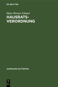Hausratsverordnung von Fehmel,  Hans-Werner