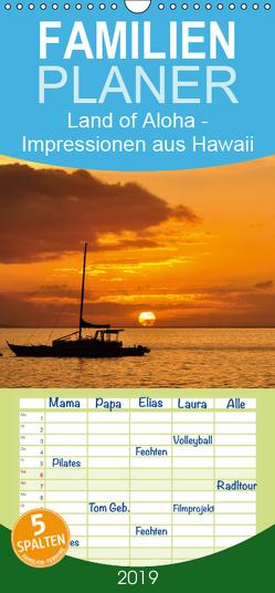 Hawaii – Land of Aloha – Familienplaner hoch (Wandkalender 2019 , 21 cm x 45 cm, hoch) von Bade,  Uwe