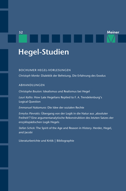 Hegel-Studien Band 52 von Bouton,  Christophe, Kallio,  Lauri, Menke,  Christoph, Nakamura,  Emmanuel, Plevrakis,  Ermylos, Quante,  Michael, Sandkaulen,  Birgit, Schick,  Stefan