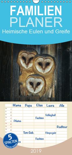 Heimische Eulen und Greife – Familienplaner hoch (Wandkalender 2019 , 21 cm x 45 cm, hoch) von Bachmeier,  Günter