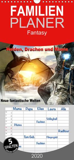 Helden, Drachen und Magie – Neue fantastische Welten – Familienplaner hoch (Wandkalender 2020 , 21 cm x 45 cm, hoch) von Schröder,  Karsten