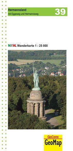 Hermannsland mit Eggeweg und Hermannsweg Blatt 39, topographische Wanderkarte NRW