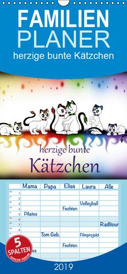 herzige bunte Kätzchen – Familienplaner hoch (Wandkalender 2019 , 21 cm x 45 cm, hoch) von Haberhauer,  Petra