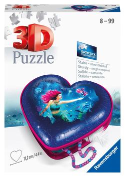 Ravensburger 3D Puzzle 11249 – Herzschatulle Bezaubernde Meerjungfrauen – 54 Teile – Aufbewahrungsbox für Erwachsene und Kinder ab 8 Jahren