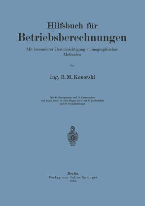 Hilfsbuch für Betriebsberechnungen von Konorski,  NA