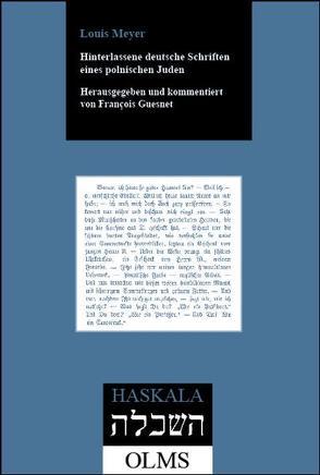 Hinterlassene deutsche Schriften eines polnischen Juden von Meyer,  Louis