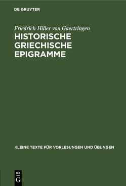 Historische griechische Epigramme von Hiller von Gaertringen,  Friedrich