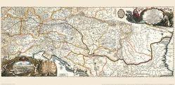 Historische Karte: Donaukarte 1683. Donaulauf mit Südosteuropa. (Plano) von Sandrart,  Jacob von
