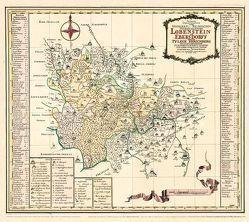 Historische Karte: REUSSISCHE HERRSCHAFTEN Lobenstein und Ebersdorf nebst der Pflege Hirschberg, 1757 (Plano) von Rockstuhl,  Harald, Schenk,  Peter (der Jüngere), Zürner,  Adam Friedrich