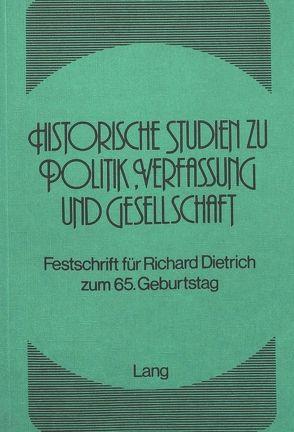 Historische Studien zu Politik, Verfassung und Gesellschaft von Grünert, Eberhard, Kraemer, Helmut, Mächler, Anita