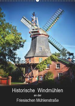Historische Windmühlen an der Friesischen Mühlenstraße / Geburtstagsplaner (Wandkalender 2019 DIN A2 hoch) von Roder,  Peter