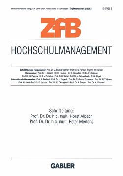 Hochschulmanagement von Albach,  Horst, Mertens,  Peter