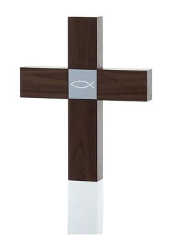 Holzkreuz klein – Nussbaum – Motiv Fisch