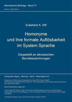 Homonyme und ihre formale Auflösbarkeit im System Sprache von Hilf,  Eckehard A.