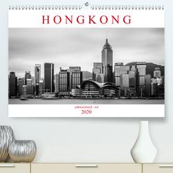 Hongkong schwarzweiß – rot (Premium, hochwertiger DIN A2 Wandkalender 2020, Kunstdruck in Hochglanz) von Rost,  Sebastian
