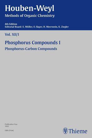 Houben-Weyl Methods of Organic Chemistry Vol. XII/1, 4th Edition von Leditschke,  Heinrich, Lüttringhaus,  A., Müller,  Peter, Müller-Dolezal,  Heidi, Schöllkopf,  Ulrich