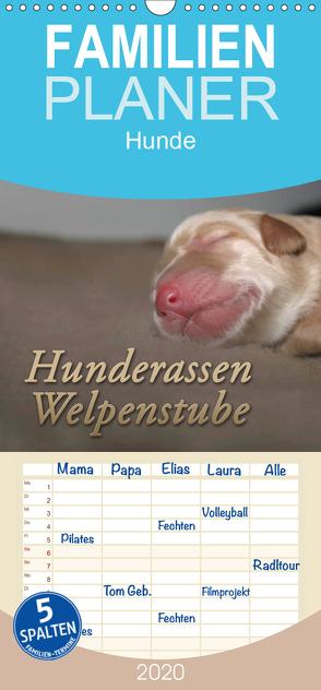 Hunderassen – Welpenstube – Familienplaner hoch (Wandkalender 2020 , 21 cm x 45 cm, hoch) von Mielewczyk,  Barbara
